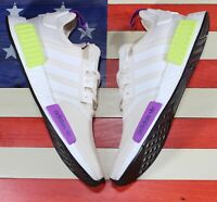Adidas Originals NMD R1 Boost Mens Running Shoe White/Solar-Yellow Purple D96626
