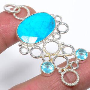"Magnesite Turquoise & Blue Topaz 925 Sterling Silver Handmade Pendant 2.25"" M192"