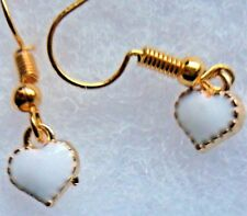 "White tiny Heart gold plated earrings  ""572""  love heart  !"