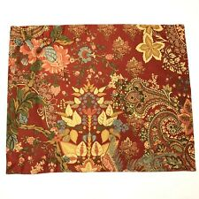 Pottery Barn Caesarea Standard Pillow Sham Rust Floral Paisley Birds No Flaws