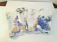Set of 4 Cloth Dinner Napkins Yellow Spring Florals Purple Lilacs