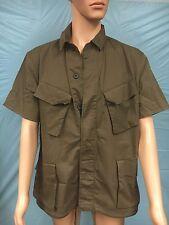NWT ASOS Mens Khaki Green Military Style Short Sleeve Button Down Shirt SZ.S