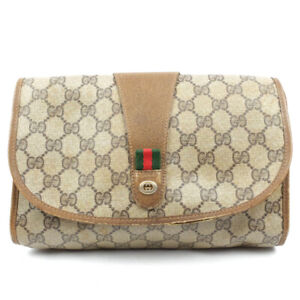 GUCCI business bag clutch bag logo beige
