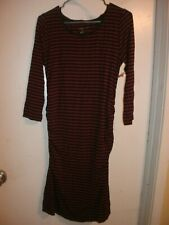 Liz Lange Women Maternity Red Striped Dress With Ruched Sides Size S (C32)