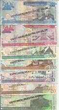 DOMINICAN REPUBLIC SET 7 PCS 10 20 50 100 500 1000 2000 PESOS 2003 SPECIMEN UNC