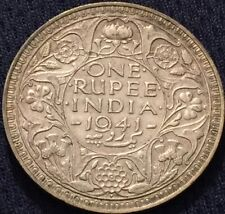 British INDIA RUPEE 1941 Silver Coin - High Grade- Please See Pictures