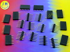 Stk.10 X BOCCOLE BARRA + penna barra 6 poli KIT intestazione/pin strip Arduino #a1787