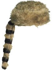 Coonskin Fur Trapper Raccoon Tail Davy Crockett Hat