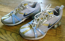 Nike Shox White Navy Silver Gold Light Blue Running Womens Shoes Size: 7.5