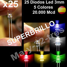 25 Diodos Led 3mm - 5 Colores Blanco, Rojo, Amarillo, Verde, Azul - Alta Calidad