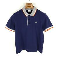 Lacoste Poloshirt Herren Gr. 4 (wie S) Blau Grau Orange Weiß Piqué Shirt