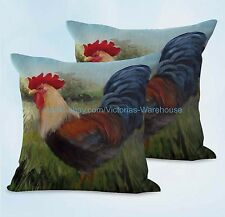 US SELLER, 2pcs wholesale decorat farmhouse animal rooster chicken cushion cover