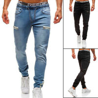 Men's Casual Denim Jeans Jogger Pants Sweatpants Elastic Skinny Workout Trousers