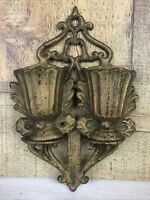 Vintage Cast Iron Wall Pocket Double Pockets Gilded Victorian Design 7 Inch