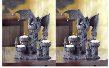 2 medieval Dragon statue Gothic castle throne Candle holder tea-light CANDELABRA