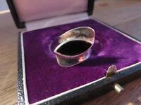 Feiner 925 Silber Ring Onyx 70er Space Age Panto Ära Groß Designer Geschwungen