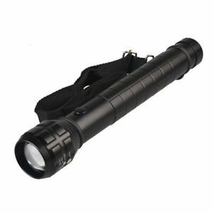 Led Flashlight Zoom Lantern 1pc Black Big Torch Light Photo Lamp Metal Reflector