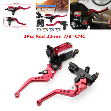 "Pair Universal 7/8"" Motorcycle Brake Clutch Master Cylinder Reservoir Lever Red"