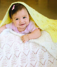 Lace Plumes & Eyelet Flowers Cosy Baby Blankets 4 Ply Knitting Pattern