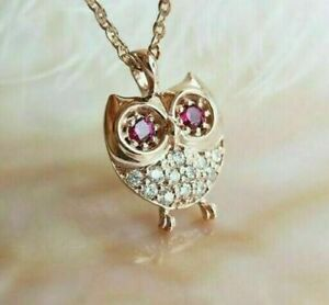 0.50CT Round Cut Ruby &  Diamond OWL Charm Adorable Pendant 14k Yellow Gold Over