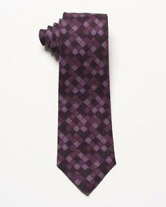 "Isaia NWT Purple Tonal Geometric Square Pattern 7 Fold Wool Silk Tie 3.5"""