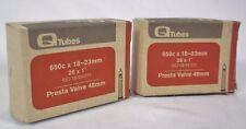 "Q-Tubes 650c x 18-23mm 26 x 1"" 48mm Presta Bike Valve Tube 2 PACK"