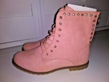 SDS Women's Boots Pink Lace Up Rhinestone Zipper Faux Leather Sz 40 8.5