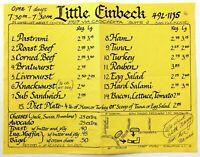 1980's Vintage Menu LITTLE EINBECK Restaurant San Clemente CA Shorecliff Market