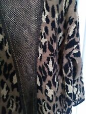 Ladies cardigan coatigan UK 20 gold black brown leopard animal print new knit