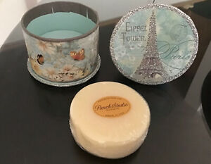 Punch Studio Lavender Soap Glittered Box-Paris Eiffel Tower Arc De Triomphe NIB
