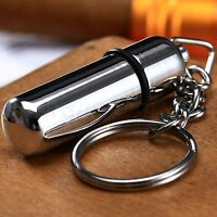 Bullet Style Stainless Steel Silver Pocket Cigar Punch Cutter W/ Key Chain Ring