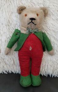 "10"" Vintage/Antique SCHUCO? or BING? Squeak Teddy Bear RINGMASTER? Felt Suit"