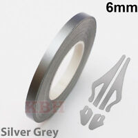 "6mm Self Adhesive Coachline Pin Stripe Vinyl Tape Craft Sticker 1/4"" SILVER GREY"