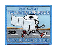 TP05 THE GREAT TOILET PAPER RACE of 2020 EMBROIDERED PATCH - IRON ON - BIOHAZARD