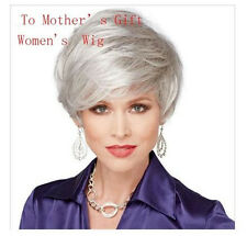 Hot Elegant Women Short Straight Hairpiece Silver Synthetic Hair Full Wig Wigs