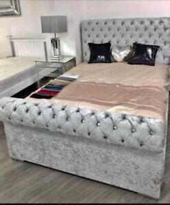 NEW Chesterfield Sleigh Bed Frame Upholstered In Crushed Velvet Bed - ALL SIZES