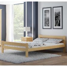 Pine wood Bed Frame 135x190 4FT6 Double Furniture Slats Unvarnished wooden