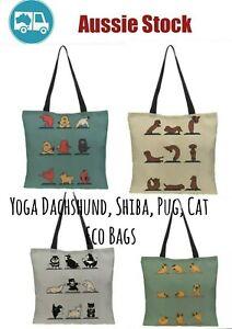 YOGA dog dachshund, Pug, YOGA cat Large eco reusable Novelty canvas tote bag