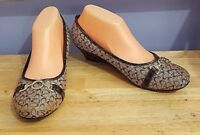 YOKI Womens Size 9 Monogram Brown Canvas Wedges w/Horsebit Gator Heels Shoes