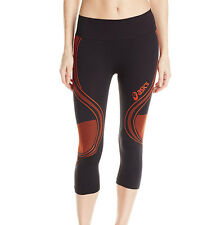 NEW ASICS Women's Studio Fit-Sana Seamless Capri Pant Red Black Cherry Tomato SM
