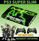 PLAYSTATION PS3 SUPER SLIM COD MW3 GREEN CALL OF DUTY SKIN STICKER & 2 PAD SKIN
