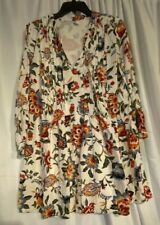 Old Navy Womens Large White Floral Long Sleeve Boho Tunic Dress Lined- Nice!