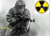 RADIATION NBC HAZMAT SUIT WITH SEALED GAS MASK SPARE FILTERS NBC PROTECTION SET