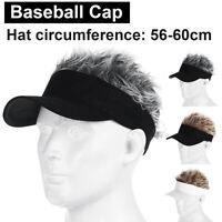 Men Women Baseball Cap Outdoor Sports Golf  Sun Visor Fake Flair Hair Wig