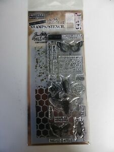 *NEW* TIM HOLTZ (Stampers Anonymous) STAMPS & STENCIL 'Moths & Insects Specimen'
