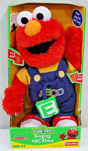 Singing ABC Elmo - 123 Sesame Street Fisher Price Plush Doll Overalls 2008 *NEW*