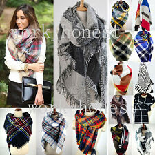 2017 Women Blanket Oversized Tartan Scarf Wrap Shawl Plaid Cozy Checked Pashmina