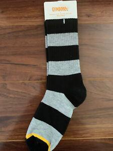 Gymboree Boy Socks Gray Black Striped Half Sz 5-7 Yrs Shoe Sz 11-12