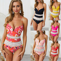 Sexy Halter Bikini V-Neck Women's One Piece Swimwear Monokini Bathing Swimsuit