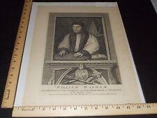 Rare Antique Orig VTG 1737 William Warham King Henry VIII Engraving Art Print